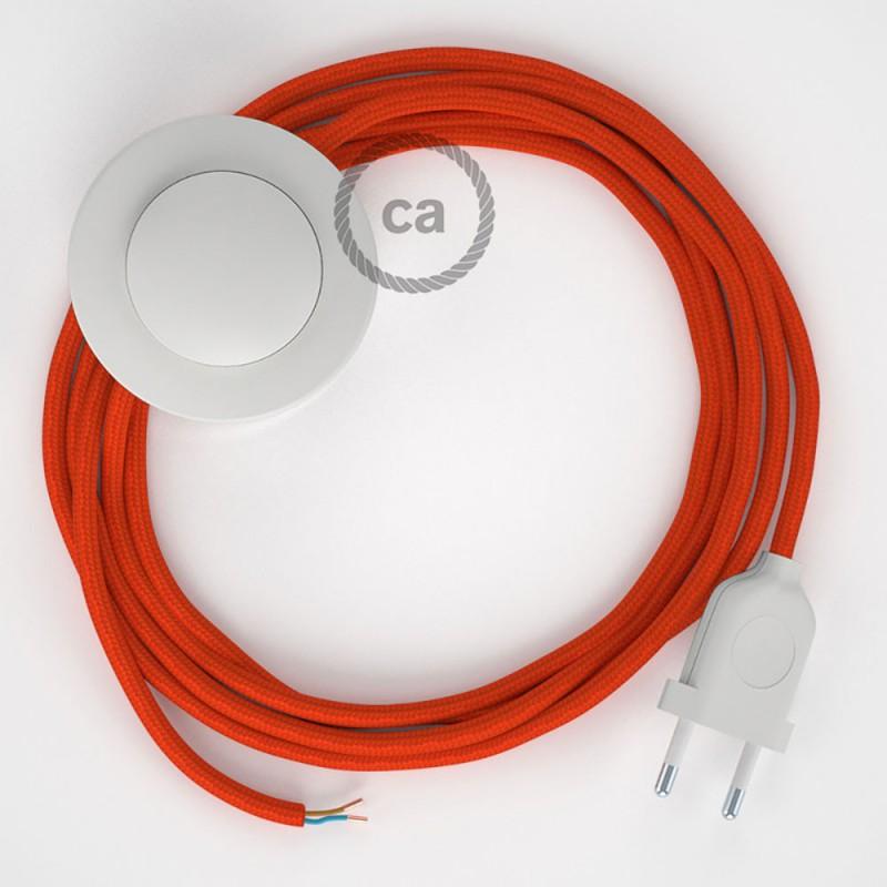 Υφασματινο Καλώδιο για Φωτιστικά Δαπέδου RM15 Πορτοκαλί - 3 m. Με διακόπτη ποδός και φις.