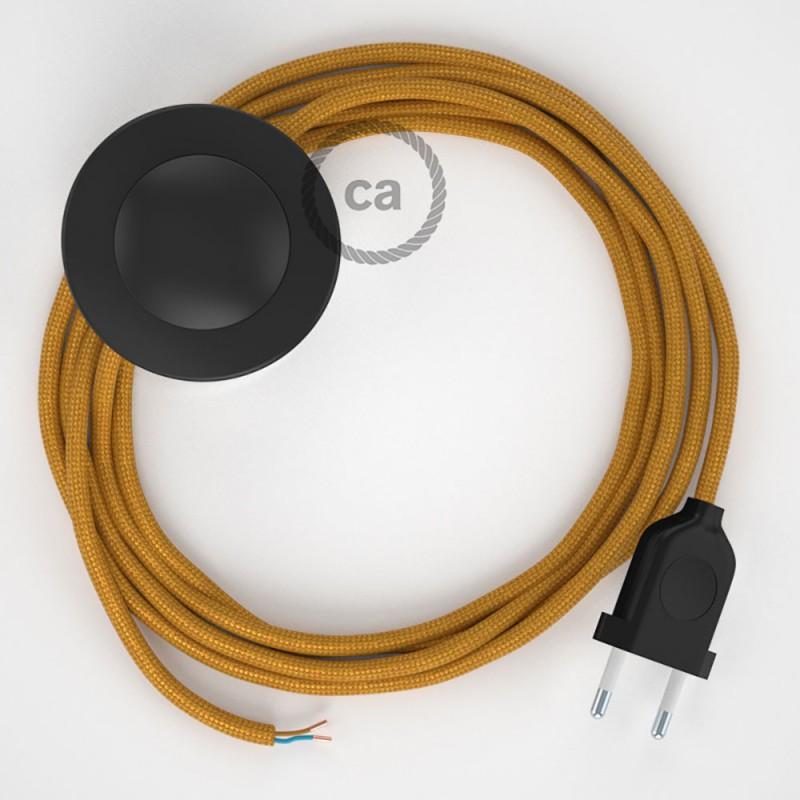 Υφασματινο Καλώδιο για Φωτιστικά Δαπέδου RM05 Χρυσό - 3 m. Με διακόπτη ποδός και φις.