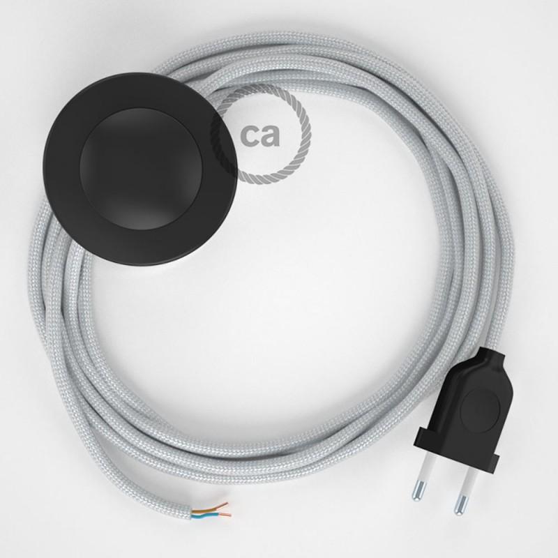 Υφασματινο Καλώδιο για Φωτιστικά Δαπέδου RM02 Ασημί - 3 m. Με διακόπτη ποδός και φις.