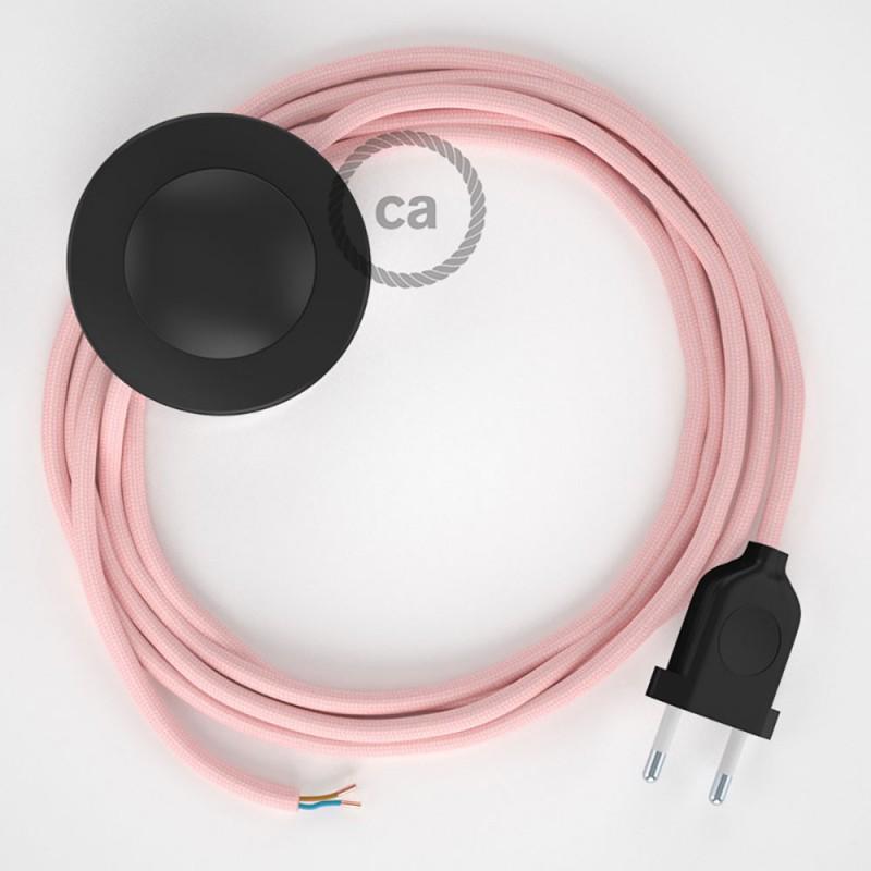 Υφασματινο Καλώδιο για Φωτιστικά Δαπέδου RM16 Ροζ Baby - 3 m. Με διακόπτη ποδός και φις.