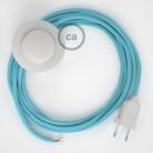 Υφασματινο Καλώδιο για Φωτιστικά Δαπέδου RM11 Baby Μπλε - 3 m. Με διακόπτη ποδός και φις.