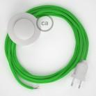 Υφασματινο Καλώδιο για Φωτιστικά Δαπέδου RM18 Ανοιχτό Πράσινο - 3 m. Με διακόπτη ποδός και φις.
