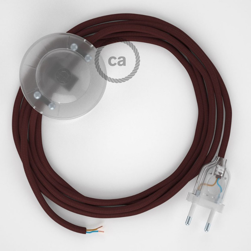 Υφασματινο Καλώδιο για Φωτιστικά Δαπέδου RM19 Μπορντό - 3 m. Με διακόπτη ποδός και φις.