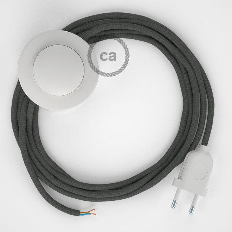 Υφασματινο Καλώδιο για Φωτιστικά Δαπέδου RM03 Γκρι - 3 m. Με διακόπτη ποδός και φις.
