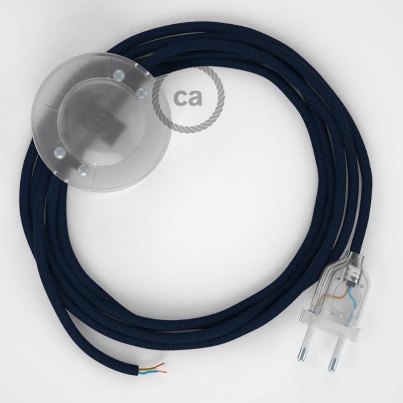 Υφασματινο Καλώδιο για Φωτιστικά Δαπέδου RM20 Σκούρο Μπλε - 3 m. Με διακόπτη ποδός και φις.