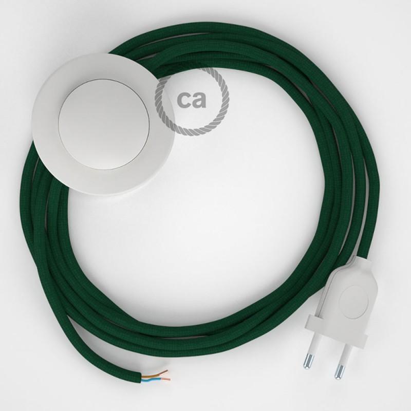 Υφασματινο Καλώδιο για Φωτιστικά Δαπέδου RM21 Λαδί - 3 m. Με διακόπτη ποδός και φις.