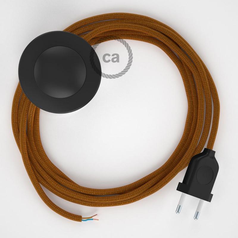 Υφασματινο Καλώδιο για Φωτιστικά Δαπέδου RM22 Whiskey - 3 m. Με διακόπτη ποδός και φις.