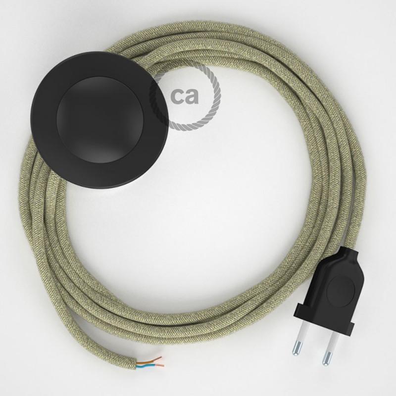Υφασματινο Καλώδιο για Φωτιστικά Δαπέδου RN01 Canvas Natural - 3 m. Με διακόπτη ποδός και φις.
