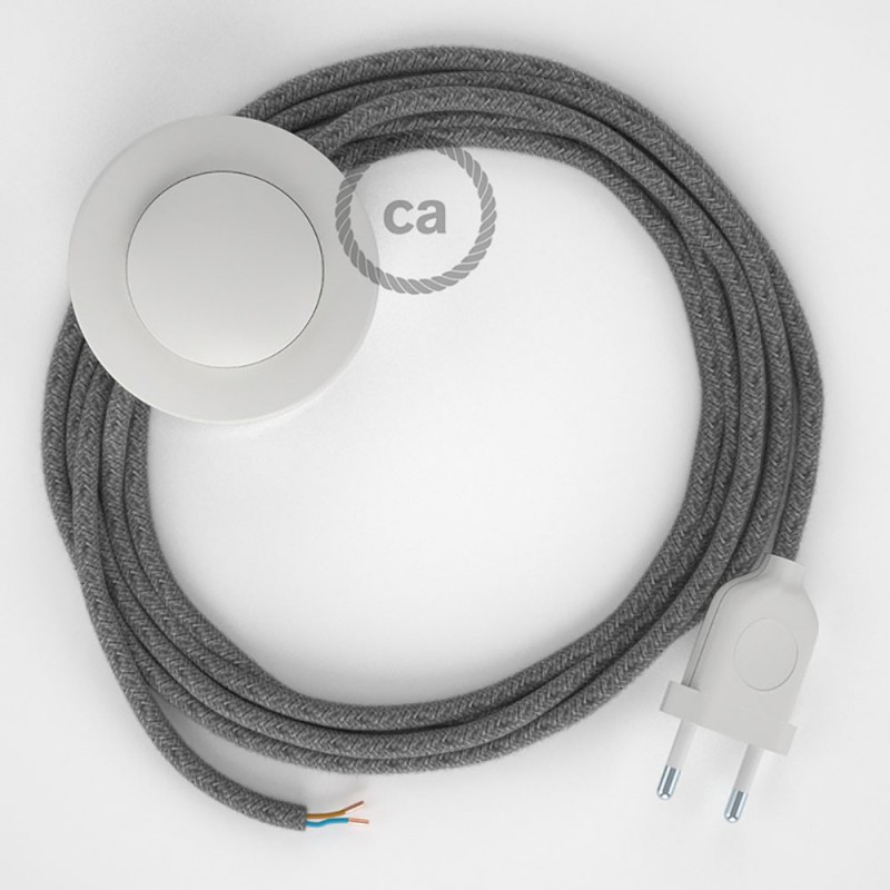 Υφασματινο Καλώδιο για Φωτιστικά Δαπέδου RN02 Canvas Γκρι - 3 m. Με διακόπτη ποδός και φις.