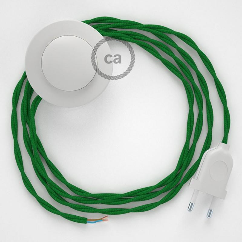 Στριφτό Υφασματινο Καλώδιο για Φωτιστικά Δαπέδου TM06 Πράσινο - 3 m. Με διακόπτη ποδός και φις.