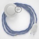 Στριφτό Υφασματινο Καλώδιο για Φωτιστικά Δαπέδου TM07 Λιλά - 3 m. Με διακόπτη ποδός και φις.