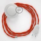 Στριφτό Υφασματινο Καλώδιο για Φωτιστικά Δαπέδου TM15 Πορτοκαλί - 3 m. Με διακόπτη ποδός και φις.