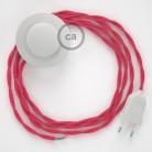 Στριφτό Υφασματινο Καλώδιο για Φωτιστικά Δαπέδου TM08 Φουξ - 3 m. Με διακόπτη ποδός και φις.