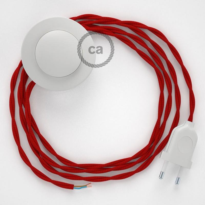 Στριφτό Υφασματινο Καλώδιο για Φωτιστικά Δαπέδου TM09 Κόκκινο - 3 m. Με διακόπτη ποδός και φις.