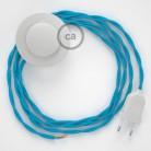 Στριφτό Υφασματινο Καλώδιο για Φωτιστικά Δαπέδου TM11 Γαλάζιο - 3 m. Με διακόπτη ποδός και φις.