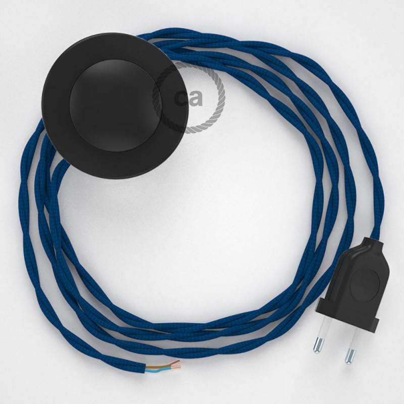 Στριφτό Υφασματινο Καλώδιο για Φωτιστικά Δαπέδου TM12 Μπλε - 3 m. Με διακόπτη ποδός και φις.