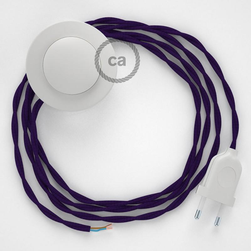Υφασματινο Καλώδιο για Φωτιστικά Δαπέδου TM14 Μωβ - 3 m. Με διακόπτη ποδός και φις.