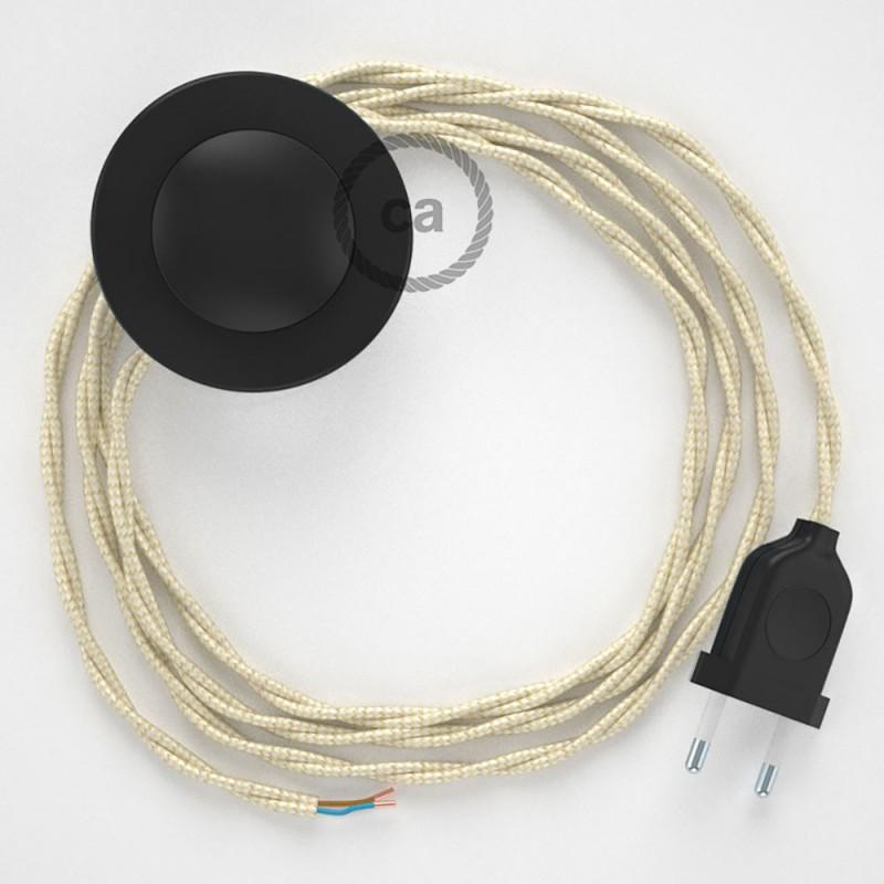 Στριφτό Υφασματινο Καλώδιο για Φωτιστικά Δαπέδου TM00 Ιβουάρ - 3 m. Με διακόπτη ποδός και φις.