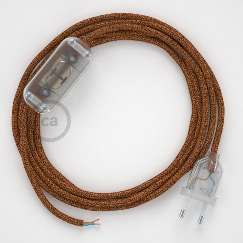 Καλωδίωση πορτατίφ με Υφασμάτινο Καλώδιο RL22 Χάλκινο Γυαλιστερό - 1.80 m. Με ενδιάμεσο διακοπτάκι και φις.