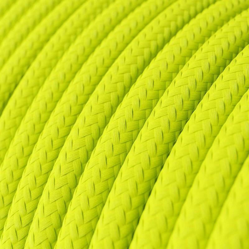 Στρόγγυλο Υφασμάτινο καλώδιο εύκαμπτο RF10 - Φωσφοριζέ Κίτρινο