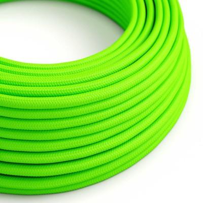 Στρόγγυλο Υφασμάτινο καλώδιο εύκαμπτο RF06 - Φωσφοριζέ Πράσινο