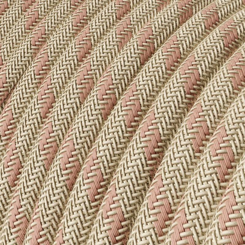 """Στρόγγυλο Υφασμάτινο Καλώδιο """"Stripes"""" RD51 μπεζ λινό και ροζ βαμβάκι"""
