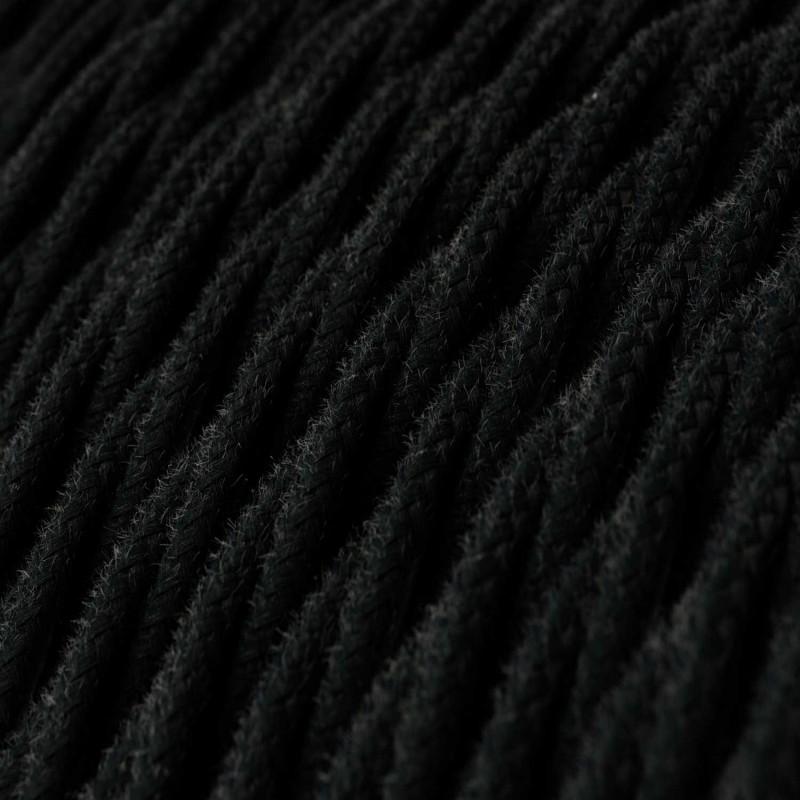 Στριφτό Υφασμάτινο Καλώδιο TC04 - Μαύρο Βαμβάκι