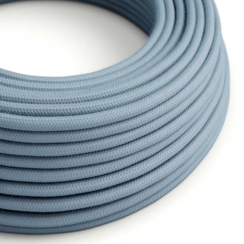 Στρόγγυλο Υφασμάτινο Καλώδιο καλυμμένο από Φυσικό Γαλάζιο βαμβάκι RC53