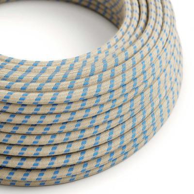 """Στρογγυλό Υφασμάτινο Καλώδιο """"Stripes"""" μπεζ λινό και μπλε βαμβάκι RD55"""