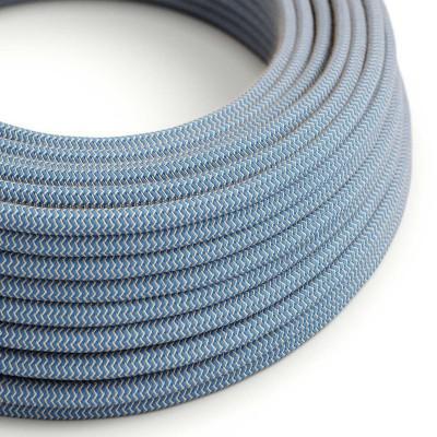 Στρογγυλό Υφασμάτινο Καλώδιο Ψαροκόκκαλο μπεζ λινό και μπλε βαμβάκι RD75
