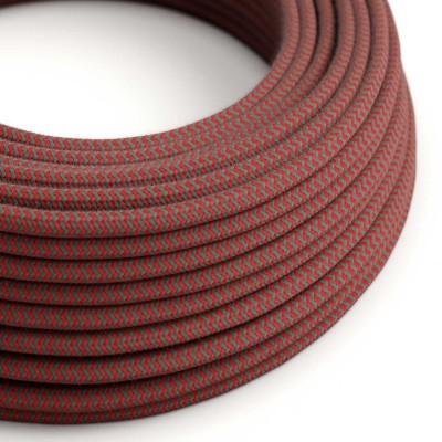Στρόγγυλο Υφασμάτινο Καλώδιο καλυμμένο από βαμβάκι - ZigZag Δίχρωμο Κόκκινο και Γκρι RZ28