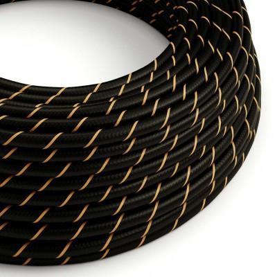 Στρόγγυλο Υφασμάτινο Καλώδιο Vertigo HD ERM42 Μαύρο με Χρυσή Ρίγα