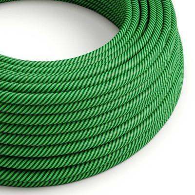 Στρόγγυλο Υφασμάτινο Καλώδιο Vertigo HD ERM48 Ριγέ Πράσινο Λαχανί