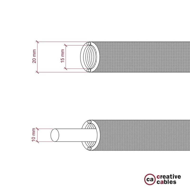 Creative-Tube Σωλήνας εύκαμπτος, μπεζ Φυσικό λινό υφασμάτινο κάλυμμα RN01, διάμετρος 20 mm για καλώδιο