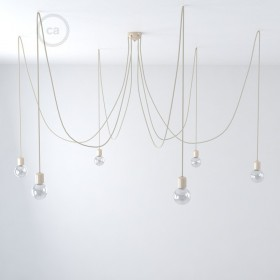 Κρεμ Κεραμικό Φωτιστικό Αράχνη, επιλέξτε 6-7 κρεμαστές λάμπες, Καφέ υφασμάτινο καλώδιο RS82